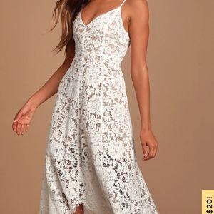 Lulu's One Wish White Lace Midi Dress